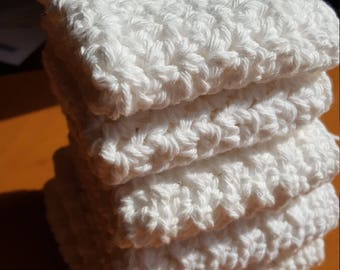Handmade crochet washcloths, dishcloths, rags or wipes 100% cotton set of 5