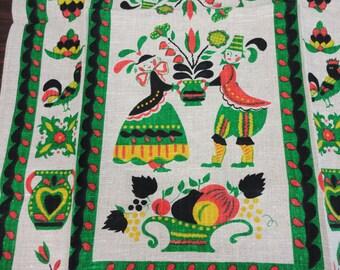 CLEARANCE SALE! Linen Towel - Tyrolean Folk Art in Red Green Black - NOS