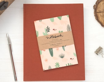 Small travel notebook, cactus travel diary, travel size notebook, cactus notebook, cactus pattern notebook, small gift for travel lover
