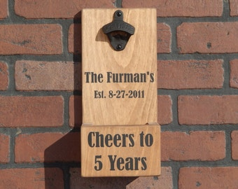 Anniversary Wall Mounted Bottle Opener With Cap Catcher, Custom and Personalized! Perfect Wedding, Anniversary Gifts!