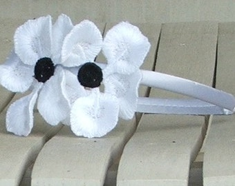 Apple Blossom Headband in Embroidered Freestanding Lace, white