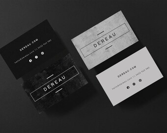 Dereau • Premade Minimalist Concrete Cement Business Card Design Branding