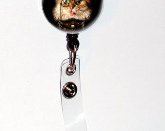 Steampunk Orange Tabby Cat with Hat and Monacle Gift Retractable ID Badge Holder Reel Clip