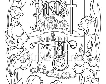 Christ The Lord Is Risen Today Coloring Page In Two Sizes 85X11 Bible Journaling Tip 6X8 KristaHamrick
