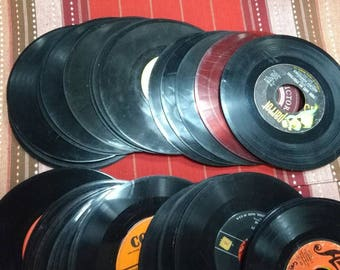45-Records-lot-of-46-to-Use-for-Crafts-Have-been-cleaned-but-not-fit-to-play