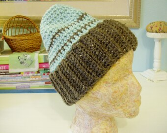Crochet Flecked Brown & Aqua Messy Bun Hat or Slouchy Ponytail, Adult size