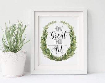 "PRINTABLE Art ""How Great Thou Art"" Typography Art Print Bible Verse Art Print Christian Art Print Christian Wall Art Nursery Art Print"