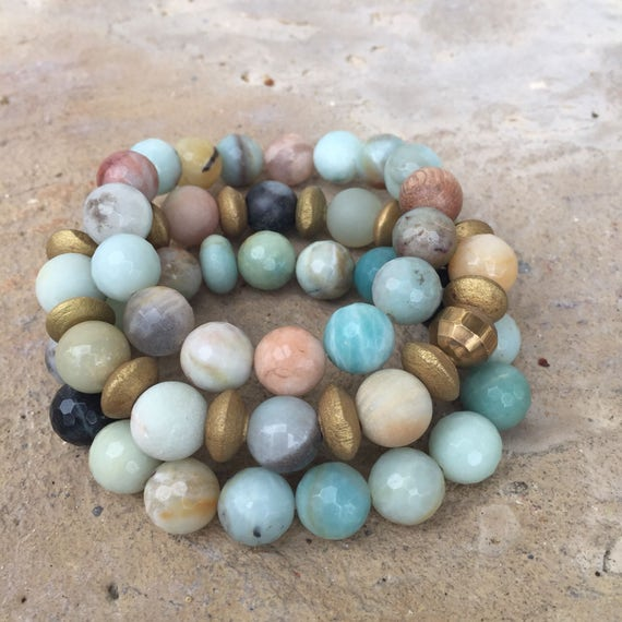 10mm Pastel mix mint bracelet stone beaded amazonite rose sunstone quartz bracelets