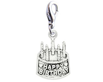Happy Birthday Cake Charms - Clip-On - Ready to Wear - Package of 2 charms