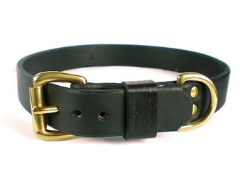 """1"""" Black Chahin English Bridle Leather Dog Collar w/ Solid Brass Hardware and Buckle"""