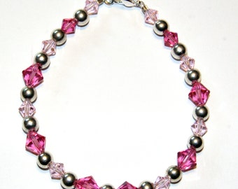 Pink Swarovski and Sterling Silver Bracelet