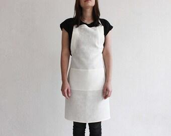 Stylish linen apron, Off white apron, Full linen apron, Kitchen apron