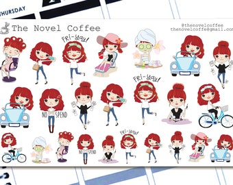 Planner Stickers Even More Doodle Girl Variety - Erin Condren Life Planners - NC41
