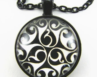CELTIC Earth Moon Sun TRISKELE Necklace -- Curled triple spiral,  Metaphysical tribal art,   Spiritual,  Triskelion necklace