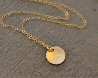 Gold Disc Necklace - Tiny Disc Necklace - Silver Disc Necklace - Dainty Gold Necklace - Layering Necklace - Minimalist Necklace - Tiny Disc