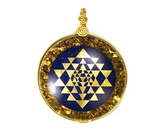 Lapis with 22k Gold Sri Yantra (collaboration with Sacred State Design) - Orgone Pendant