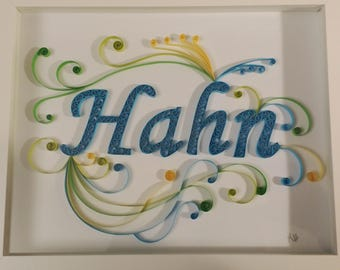 Custom Quilled Typography in a Framed 8x10 Shadow Box