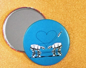 3.5 Inch Giant AT-AT Love Mirror - Blue, Star Wars Mirror, Star Wars Gift, Star Wars Party, Pocket Mirror, Compact Mirror, Hand Mirror