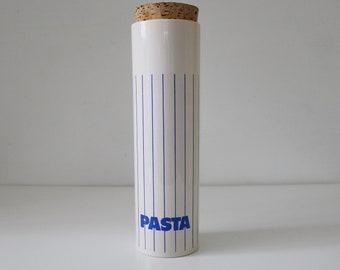 1980s Hornsea Stripe pasta jar with cork lid