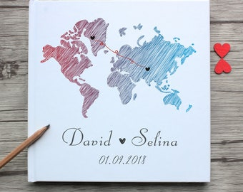 Personalized long distance love white wedding guest book,custom state world map friendship birthday guest book gift to her,sign in ideas