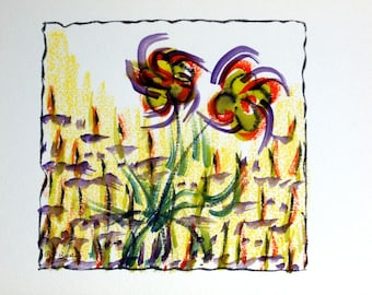 FREE SHIPPING Watercolor dreams number 2 (Lilies)