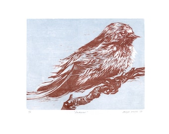"""Woodcut, """"Swallow"""" (White) - Original Woodcut Relief Hand-printed on Sumi-e, Limited Edition of 5 only"""