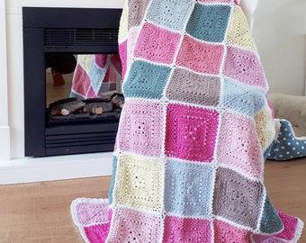 Crochet Pattern - UK Terms - Spring Blossoms Blanket