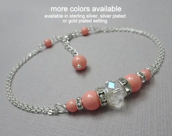 Swarovski Pink Coral Bridesmaid Bracelet, Wedding Bracelet, Personalized Bracelet, Bridesmaid Jewelry, Bridesmaid Gift, Maid of Honor Gift
