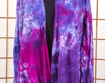 Womens JACKET, Hand Dyed, Medium, Asymmetric, Boho, High Fashion, Purple, Magenta, Fuchsia, Pink, Lavender, LONG Sleeve, 100% Cotton, 103