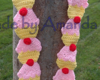 Cupcake Scarf - crochet - Unique and Fun Scarf - save calories and wear a cupcakes scarf