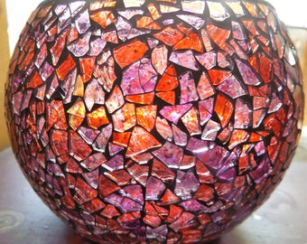 Mosaic Style Round Stain Glass Pilar Candle Holder/Vase in Shades of Red and Purple