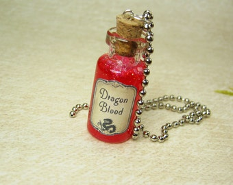 Dragon's Blood 2ml Glass Bottle Necklace Charm - Glass Vial Pendant - Goth Dragons Glitter Halloween
