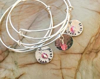 Custom Adjustable Bangle Bracelet, Stamped Adjustable Bangle, Stackable Bangle, Personalized  Adjustable Bracelet Bangle, Initial jewelry