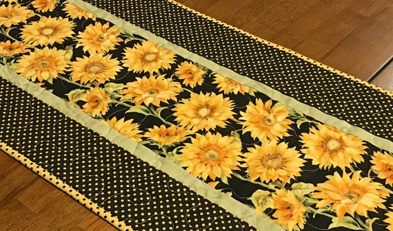 Perfect Quilted Sunflower Table Runner Yellow Black Table Runner