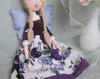 Fairy doll OOAK primitive art cloth fabric dolls cottage chic French country decor housewarming gift shelf sitter bedroom charming decor