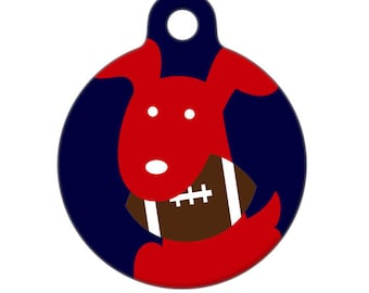 Pet ID Tag - Football Team Pup Customize With Your Teams Colors Pet Tag, Dog Tag, Luggage Tag