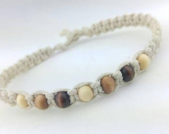 Custom Hemp Bracelet With Wood Beads Handmade, Hemp Jewelry, Hemp Anklet, Hemp Bead Bracelet, Bracelet, Jewelry, Hemp.