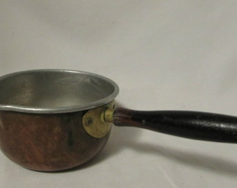 Melting Pan, Copper Clad Nickel, Wood Handle, Shabby, Country, Cottage, Cabin, Farmhouse