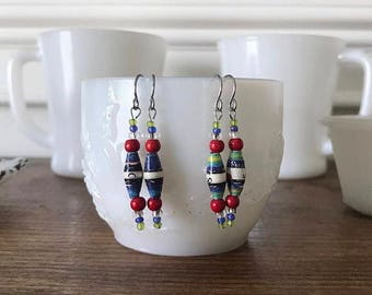 Handmade Earrings, Paper Beads, Colorful and Unique