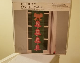 Vintage 1979 Bernat Holiday on the Wall Christmas Noel Bells of Christmas Latch Hook Kit DIY Christmas Craft Kit for All Ages New Old Stock
