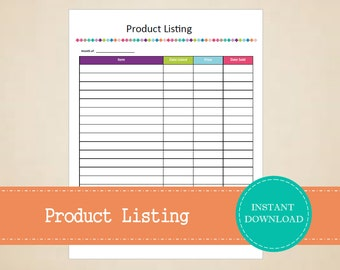 Product Listing - Item Listing Tracker - Product Tracker - Business Planner - Printable and Editable - INSTANT PDF DOWNLOAD