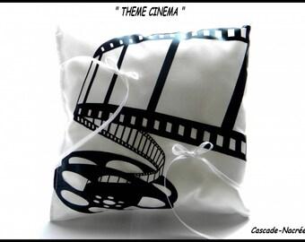 FILM black and white satin wedding ring bearer pillow