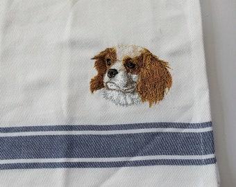 Cavalier King Charles Spaniel Dog Tea towel, Kitchen Towel, Embroidered Towel, Dog Gift, Kitchen Gift