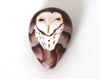 Barn Owl Bead, Small Polymer Clay Focal Bird Bead