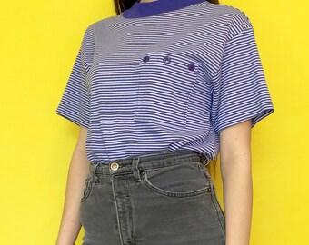 Vintage 90s 80s Blue and White Striped Mock Turtle Neck Short Sleeve Pocket Tee