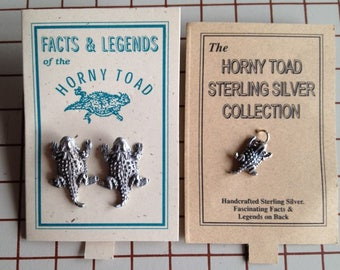 Horned Toad earrings and sterling silver charms, marked Toadland 1997; vintage new stock, TCU horny frog horned lizard cowboy western