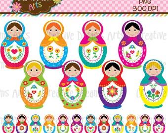40% Off! Matryoshka Dolls ClipArt Instant Download