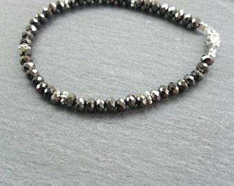 Gunmetal grey faceted glass beaded bracelet