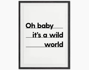 Oh Baby It's a Wild World - Typography Quote Art Print