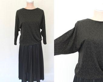 80s Black Dress / 1980s Pleated Dress /  Vintage Dress / Small/medium